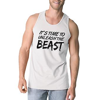 Unleash Beast Mens White Racerback Tank Top For Workout Gym Tanks