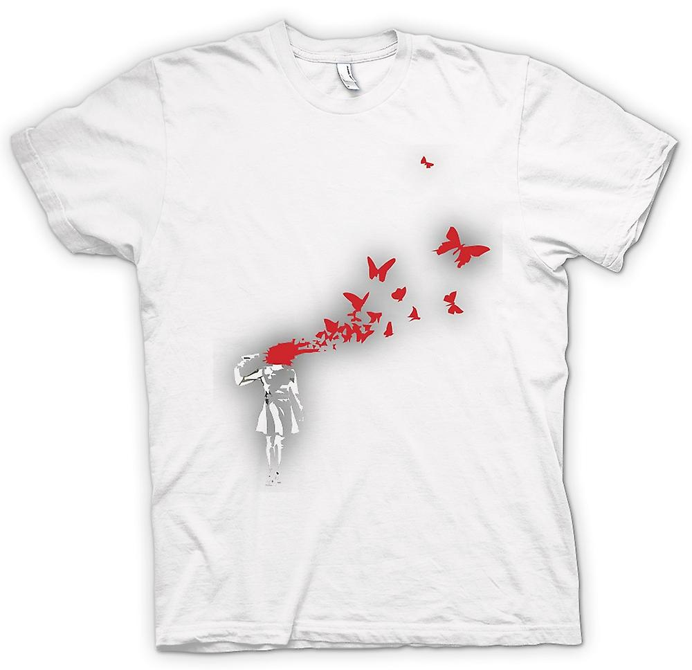 T-shirt des hommes - Art Banksy Graffiti - Butterly