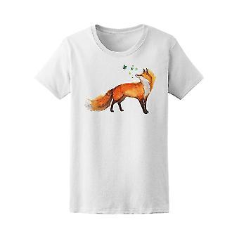 Fox With Butterflies Tee. Women's -Image by Shutterstock