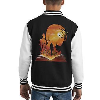 Hunger Games Katniss Silhouette Sunset Kid's Varsity Jacket
