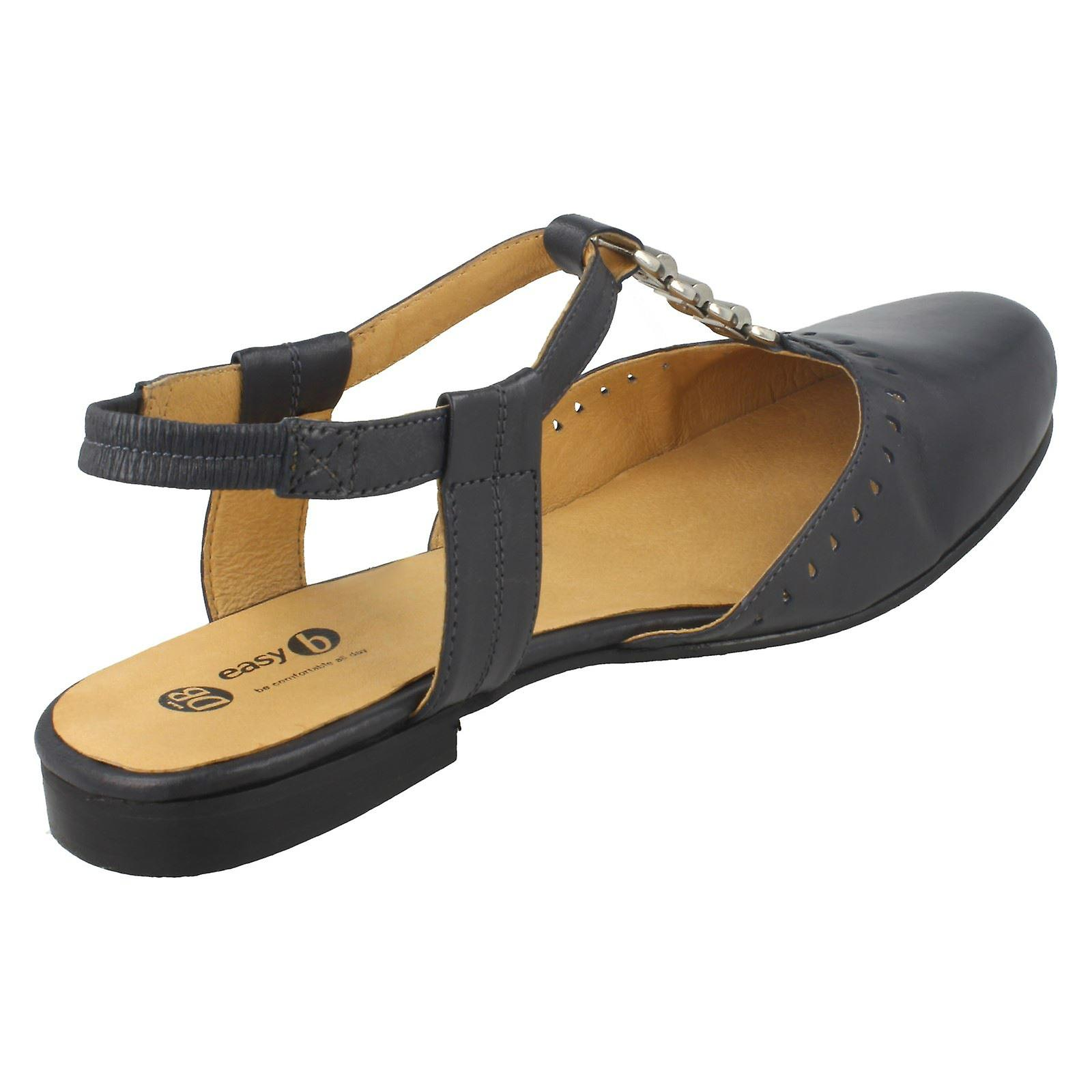 bc9271b418 Ladies Easy B Cut Out Slingbacks Brittany 78463N - Navy Leather - UK Size 6  4E