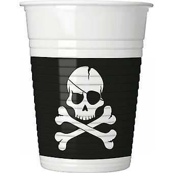 Pirates Black Skull Pirat Totenkopf Party Becher Trinkbecher 200ml 8 Stück Kindergeburtstag Mottoparty