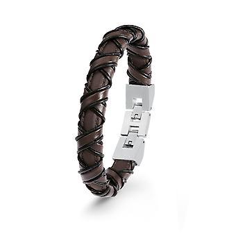 s.Oliver juvel mens skinn armbånd svart rustfritt stål 2022618