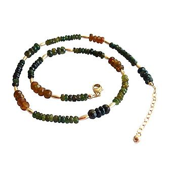 Tourmaline necklace green orange tourmaline necklace gold plated women's jewelry