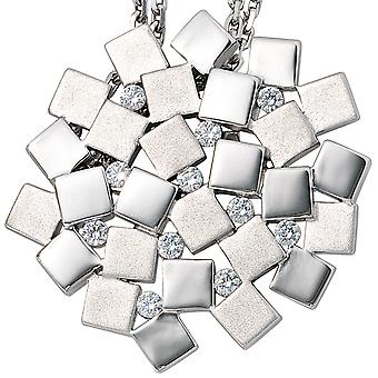 Pendant on rhodium plated 925 sterling silver 11 cubic zirconia mat
