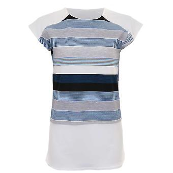 Dames Cap mouw Contrast crêpe Stripe kant gleuf gebogen blok Hem bovenste T-Shirt