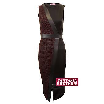 Damen weißes Wein Polka Dot schwarz Midi Womens PVC Sleevless Kleid