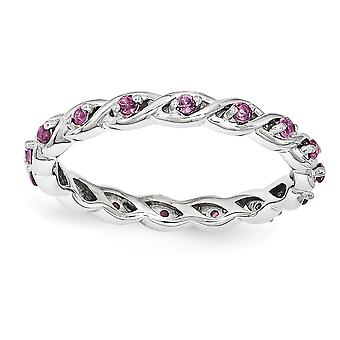 2.5mm Sterling Silver Polished Prong set Rhodium-plated Stackable Expressions Rhodolite Garnet Ring - Ring Size: 5 to 10