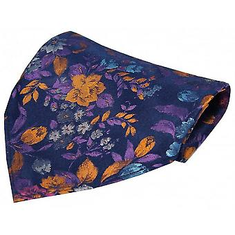 Posh and Dandy Flowers Luxury Pocket Square - Navy/Orange