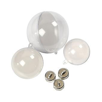 OFFER - 60 Assorted Two Part Fillable Plastic Christmas Baubles - 50, 60 & 80mm