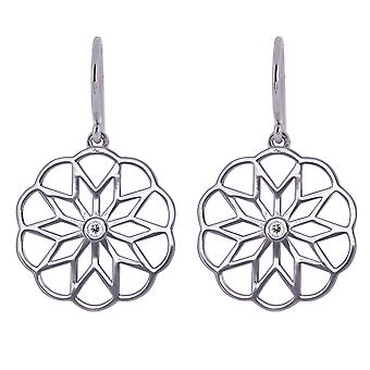 Sterling Silver 1.7mm Round Moissanite Rosace Drop Earrings