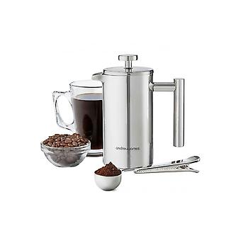 Andrew James 350ml Stainless Steel Cafetiere Coffee Press With Measuring Spoon
