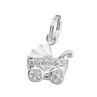 Kinderwagen - 925 Sterling zilveren bedels met Split ring - W29949X