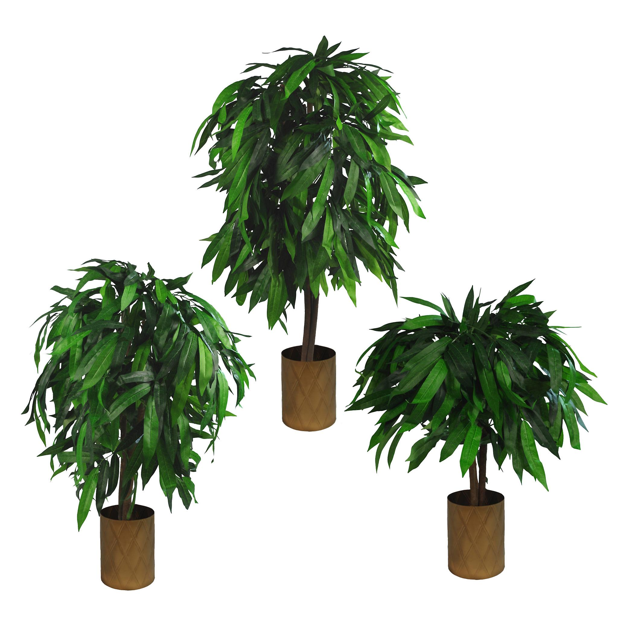 100cm Large Artificial Mango Tree Plant with Metal Planter
