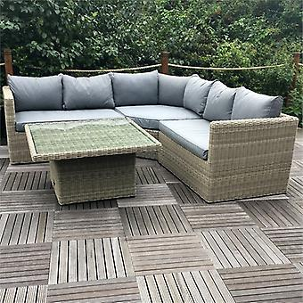 Royalcraft Wentworth Rattan Corner Sofa Set with Adjustable Table