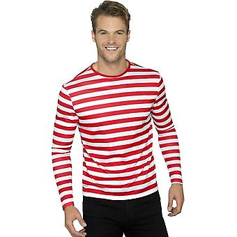 Stripy T-Shirt, Red, with Long Sleeve