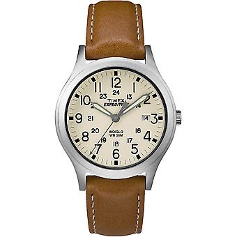 Timex Expedition® Mid-Size Leather Watch - Cream Dial