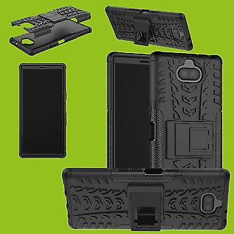 Hybrid Case 2teilig Robot Schwarz für Sony Xperia XA3 Tasche Hülle Cover Schutz