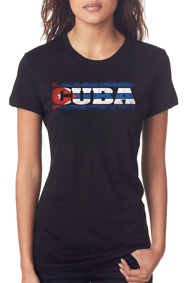 Cuba Cuban Flag - Words Ladies T Shirt