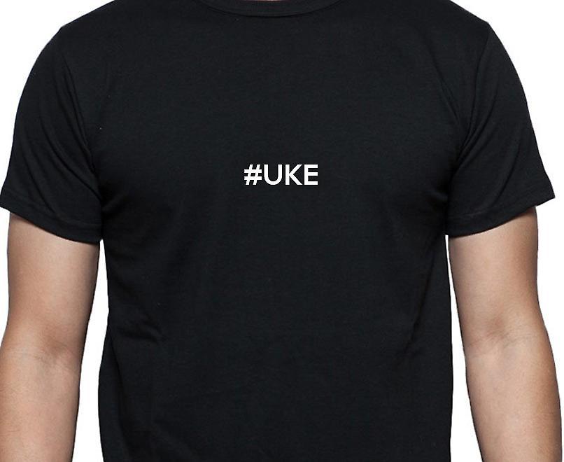 #Uke Hashag Uke Black Hand Printed T shirt