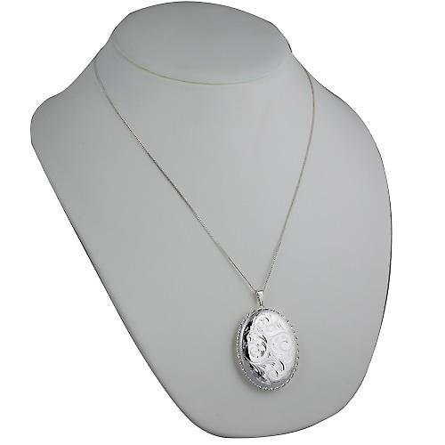 Silver 48x38mm hand engraved twisted wire edge oval Locket with a curb chain