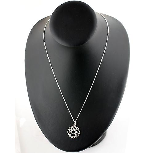 Silver 22mm round Celtic knot Pendant with a rolo Chain 20 inches