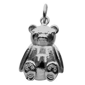 Silver 14x11mm solid Teddy Bear Pendant or Charm