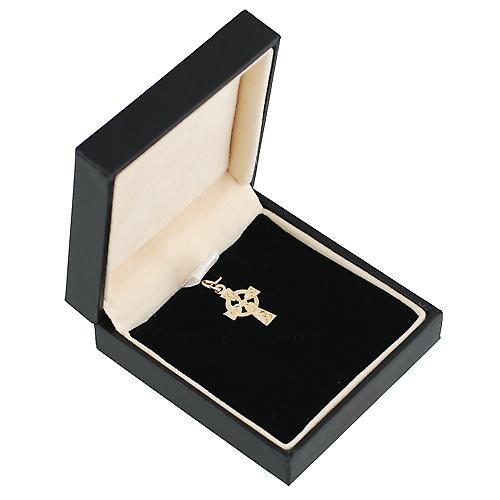 9ct Gold 16x11mm hand engraved Celtic Cross