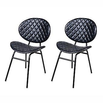 QAZQA Set van 2 eetkamer stoelen leer donkerblauw met Iron Legs - Larnaca