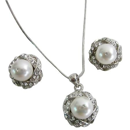 Fairytale Wedding Gorgeous Pure Whie Pearls All Occasion Jewelry Set
