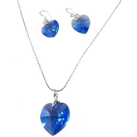 Swarovski Sapphire Heart Romantic Valentine Necklace Jewelry Set