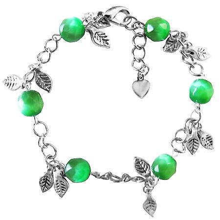 Jade Stone Bracelet Faceted Jade Cat Eye Bracelet Dangling Bracelet