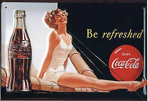 Coca Cola Be Refreshed (swimsuit ls) embossed steel sign