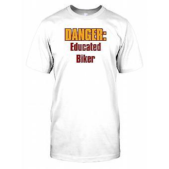 Danger: Educated Biker - Funny Joke Mens T Shirt