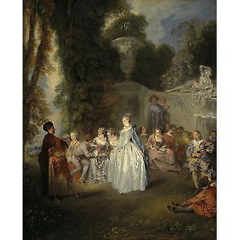 Wenetian festivitles,Jean-Antoine Watteau,60x40cm