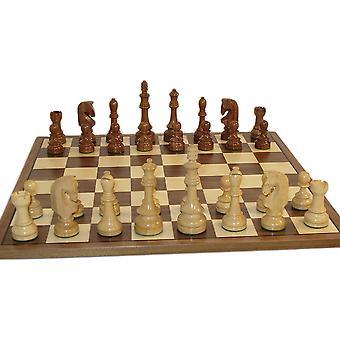 El conjunto del ajedrez de Sheesham rusa tradicional con nuez / arce mesa