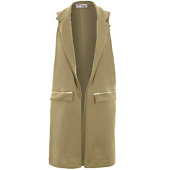 Détail de Zip Casual sans manches Ladies adaptés veste de smoking gilet Long Duster