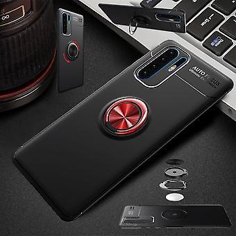 Für Samsung Galaxy A50 6.4 Zoll Magnet Metall Ring ultra dünn Case Schwarz / Rot Tasche Hülle Cover Etuis Schutz