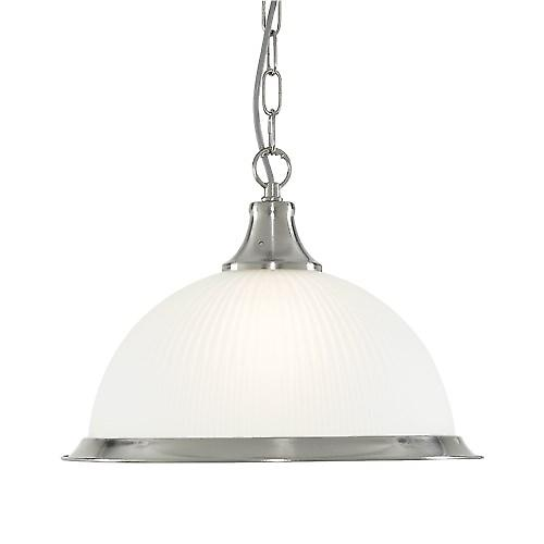 Searchlight 1044 American Diner Ceiling Chain Pendant With Ribbed Opaque Glass