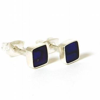INFERNO 925 Sterling Silver Purple Abalone Paua Shell Stud Earrings