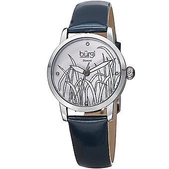 Burgi Women's Diamond Reed Design Dial Silver-Tone/ Blue Leather Strap Watch BUR173BU