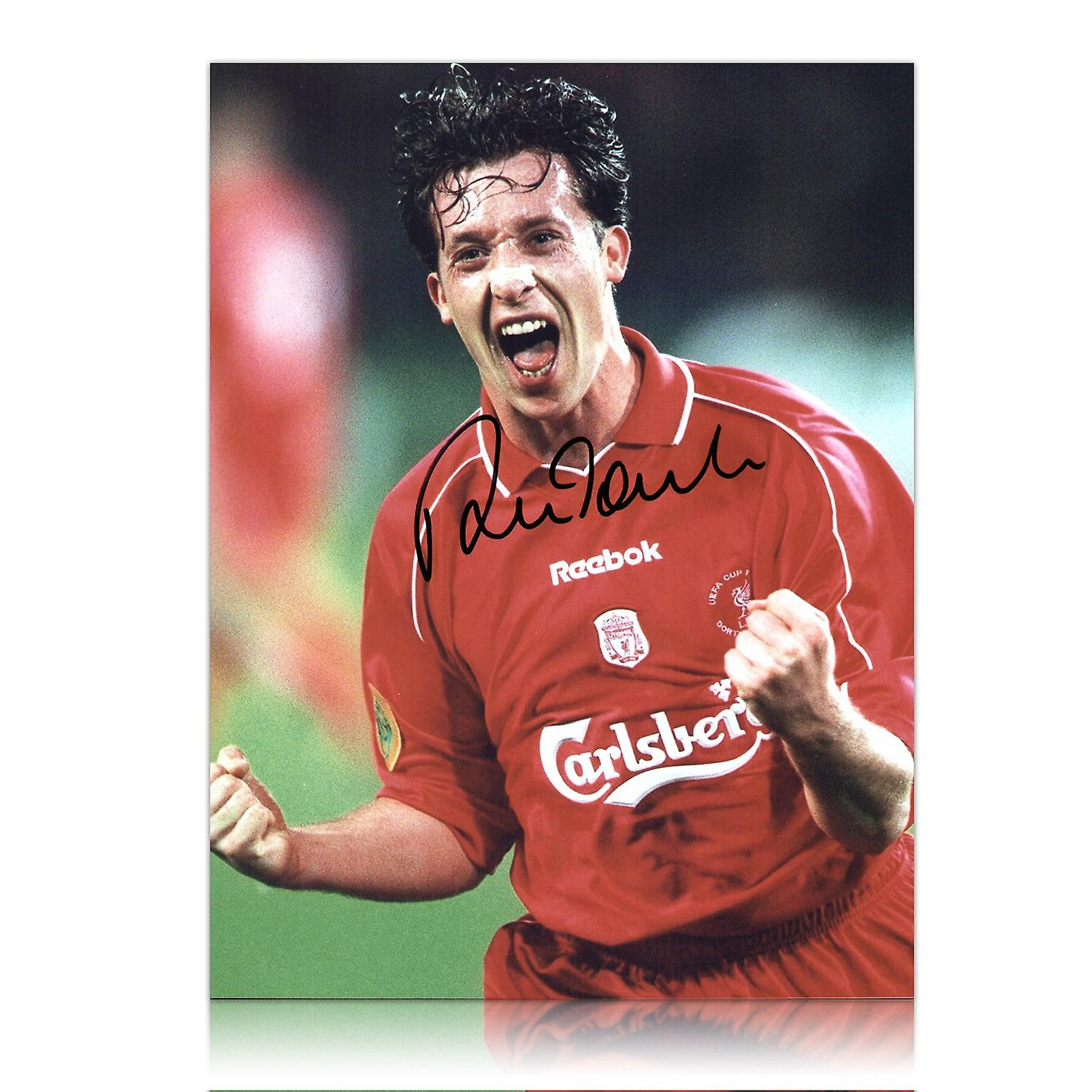 Robbie Fowler Signed Liverpool UEFA Cup Celebration Photo
