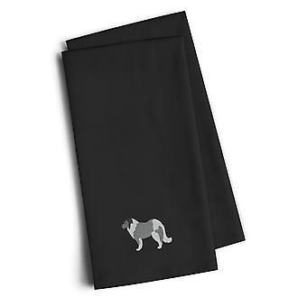 Caucasian Shepherd Dog Black Embroidered Kitchen Towel Set of 2