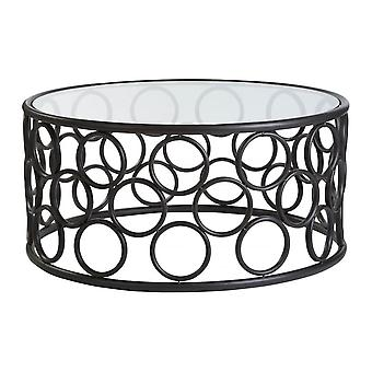 Fusion Living Black Metal Circles Coffee Table With Glass Top