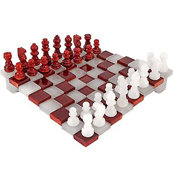 3 Dimensional Red & White Alabaster Chess Set 9.5 Inches