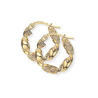 Jewelco London Ladies 9ct Giallo Oro Mesh Candy Twist Nastro Hoop Orecchini 18mm