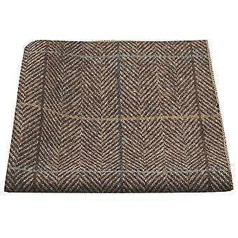 Luxury Walnut Brown Herringbone Check Pocket Square, Handkerchief, Tweed