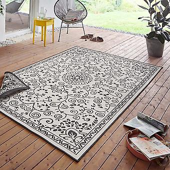 In& amp;amp; Outdoor Reversible Carpet Leyte Black Cream