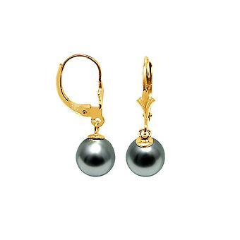 Boucles d'Oreilles Femme Dormeuses Perles de Tahiti 8 mm et or jaune 750/1000