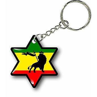 Nøkkelring Key nøkkel Cles dør bil løve flagg Rasta Jamaique rastafarai